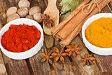 colorful spices of curry and red pepper