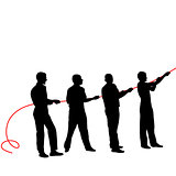 Black silhouettes of people pulling ropeþ. Vector illustration.