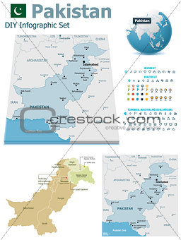Pakistan maps with markers