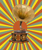 Gramophone and retro  sun rays
