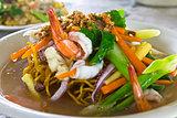 Yellow noodle seafood
