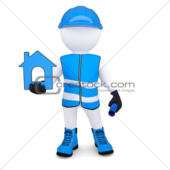 3d man in overalls with house ico