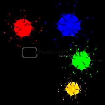 3d glowing microorganisms