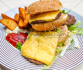 American cheese burger with fresh