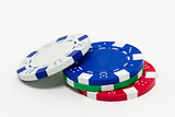 Stack of poker chips isolated on white background