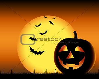 Grinning pumpkin with bats on backgound halloween
