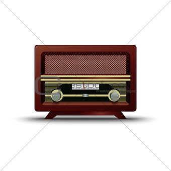 Old wooden retro radio on white background
