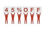 Discount. 45 percent off.