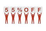 Discount. 55 percent off.