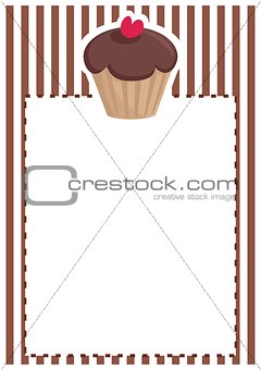 Retro vector restaurant menu, wedding card, list or baby shower invitation with sweet chocolate cupcake on brown vintage pattern or stipes background