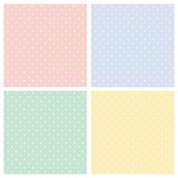 Vector set of sweet seamless patterns or textures with white polka dots on pastel, colorful background