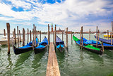 Gondolas moored by Saint Mark squar