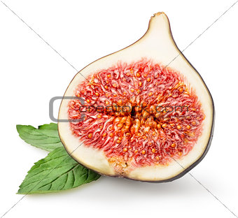 Sliced figs with green leaf