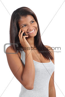Beautiful african american girl on the phone