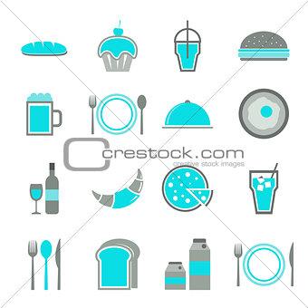 Food blue icons set on white background