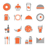 Food orange icons set on white background