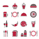 Food red icons set on white background