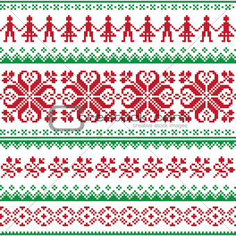 Nordic seamless knitted red and green pattern