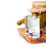 Russian vodka with traditional black bread and pickles
