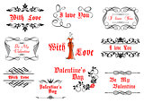 Calligraphic elements with love and valentines details