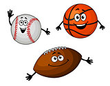 Baseball, basketball and rugby balls
