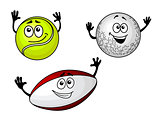 Golf, tennis and football balls