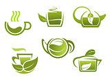Green tea symbols set