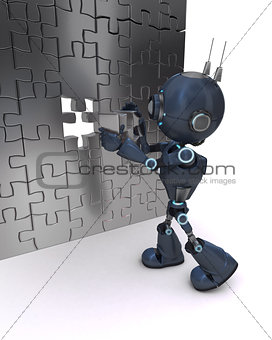 Android with jigsaw puzzle