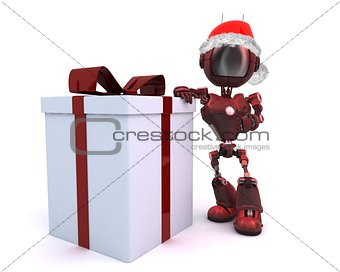 Android in a Santa hat with Christms Gift