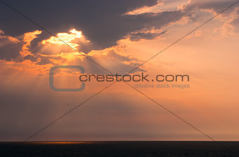 Beautiful seascape with orange warm sunrise