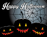 halloween background with pumpkin and spider web
