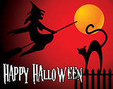halloween background with full orange moon, witch and black cat
