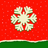 Red and green torn paper background with snowflake for Christmas.