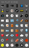 54 flat icons and pictograms set. EPS10 vector illustration