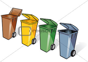 4 trash bins