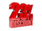 23 percent discount. Red shiny text.
