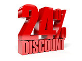 24 percent discount. Red shiny text.