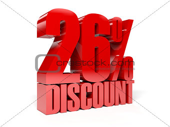 26 percent discount. Red shiny text.