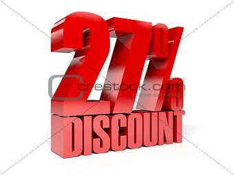 27 percent discount. Red shiny text.