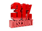 31 percent discount. Red shiny text.