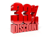 33 percent discount. Red shiny text.
