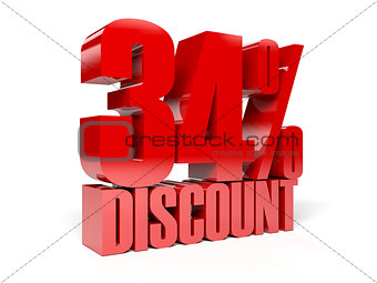34 percent discount. Red shiny text.