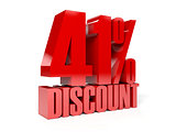 41 percent discount. Red shiny text.