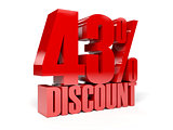 43 percent discount. Red shiny text.