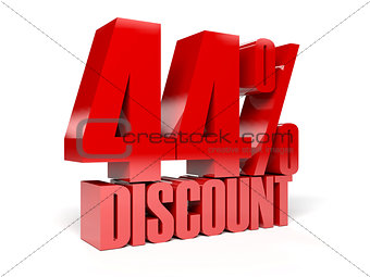 44 percent discount. Red shiny text.