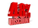 48 percent discount. Red shiny text.