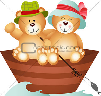 Teddy Bear Couple on a Boat