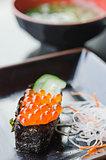Ikura Sushi and vegetable