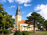Skagen Church on a sunny day with blue sky