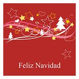 Christmas vector card or invitation for party with Merry Christmas wishes in espanol: Feliz Navidad.